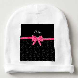 Personalized name black anchors pink glitter bow baby beanie