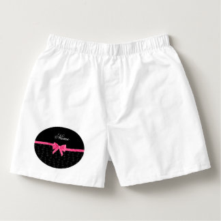 Personalized name black anchors pink glitter bow boxers