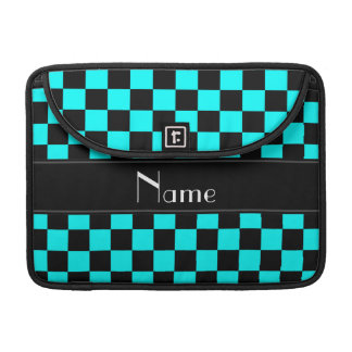Personalized name black and aqua checkers MacBook pro sleeve