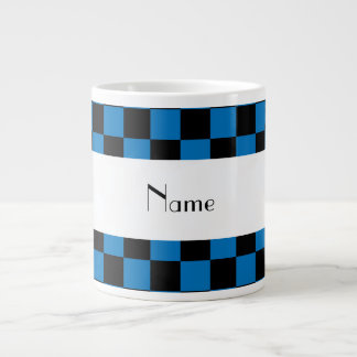 Personalized name black and blue checkers giant coffee mug