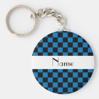Personalized name black and blue checkers keychain