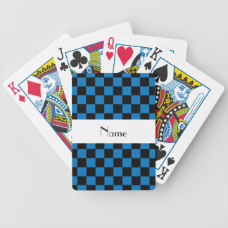 Personalized name black and blue checkers bicycle playing cards