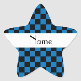 Personalized name black and blue checkers star sticker