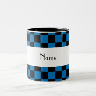 Personalized name black and blue checkers Two-Tone coffee mug