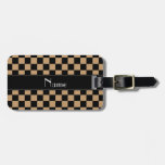 Personalized name black and brown checkers travel bag tag