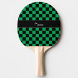 Personalized name black and green checkers Ping-Pong paddle
