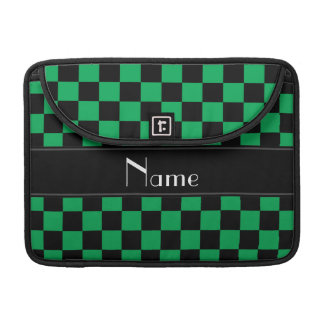 Personalized name black and green checkers sleeve for MacBook pro