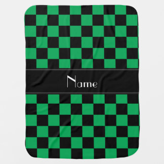 Personalized name black and green checkers stroller blanket