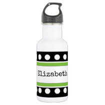 Personalized name black and green stainless steel water bottle