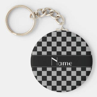 Personalized name black and grey checkers keychain