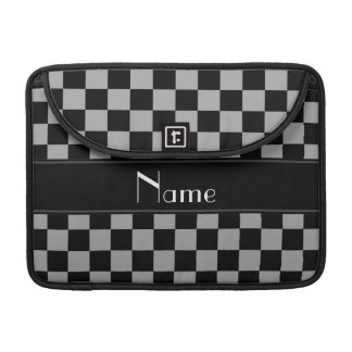 Personalized name black and grey checkers sleeves for MacBooks