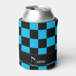 Personalized name black and light blue checkers can cooler