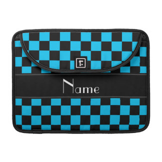 Personalized name black and light blue checkers MacBook pro sleeves