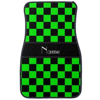Personalized name black and neon green checkers car floor mat