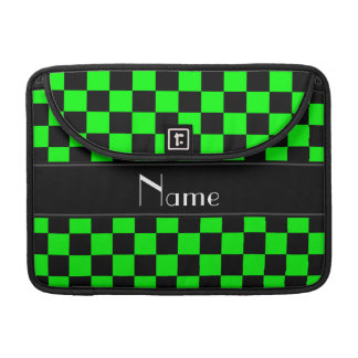 Personalized name black and neon green checkers sleeves for MacBook pro
