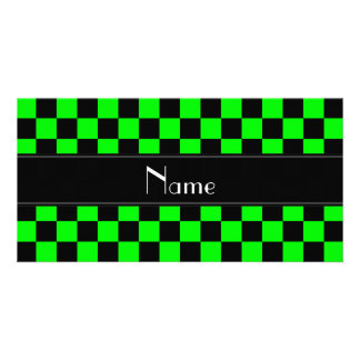Personalized name black and neon green checkers photo card