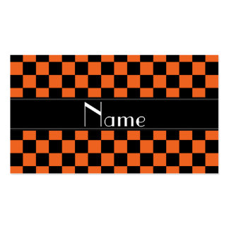 Personalized name black and orange checkers business card
