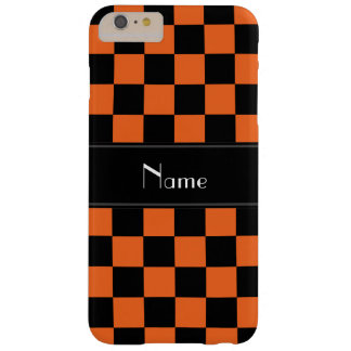 Personalized name black and orange checkers barely there iPhone 6 plus case