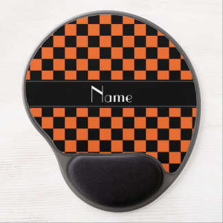 Personalized name black and orange checkers gel mouse pad