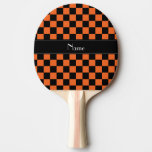 Personalized name black and orange checkers Ping-Pong paddle