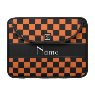 Personalized name black and orange checkers sleeve for MacBook pro