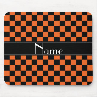 Personalized name black and orange checkers mouse pad