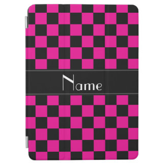 Personalized name black and pink checkers iPad air cover