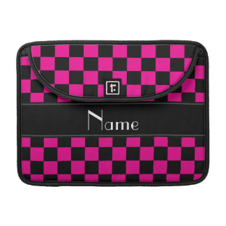 Personalized name black and pink checkers sleeve for MacBook pro