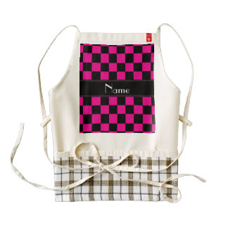 Personalized name black and pink checkers zazzle HEART apron