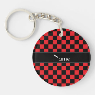 Personalized name black and red checkers Single-Sided round acrylic keychain