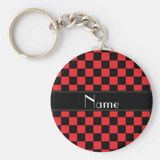 Personalized name black and red checkers basic round button keychain