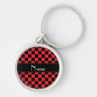 Personalized name black and red checkers Silver-Colored round keychain