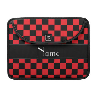 Personalized name black and red checkers MacBook pro sleeves