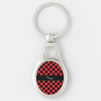 Personalized name black and red checkers Silver-Colored oval metal keychain