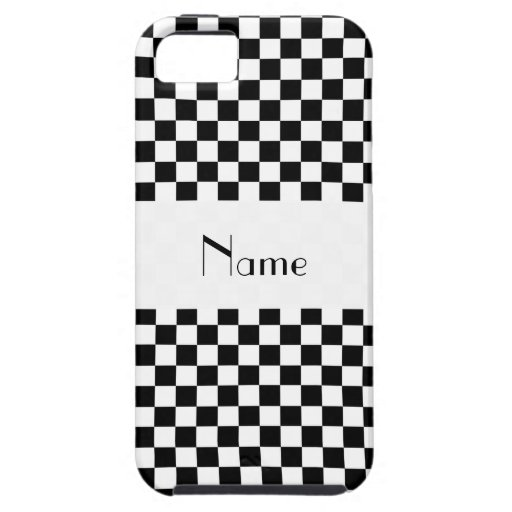 Personalized name Black and white checkers iPhone 5 Covers