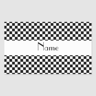 Personalized name Black and white checkers Rectangular Sticker