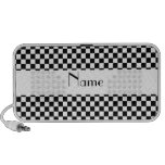 Personalized name Black and white checkers Travel Speakers