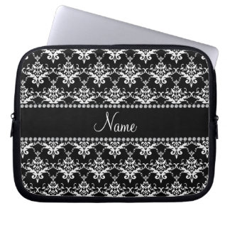 Personalized name black and white damask computer sleeve