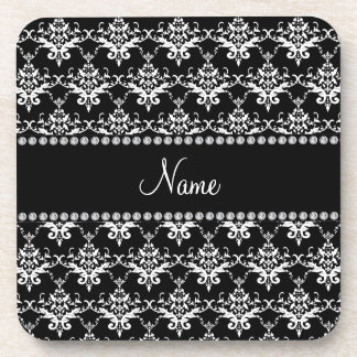Personalized name black and white damask beverage coasters