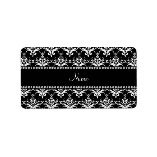 Personalized name black and white damask labels