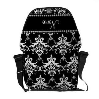 Personalized name black and white damask courier bag