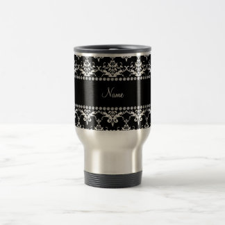 Personalized name black and white damask coffee mug