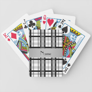 Personalized name black and white plaid bicycle playing cards