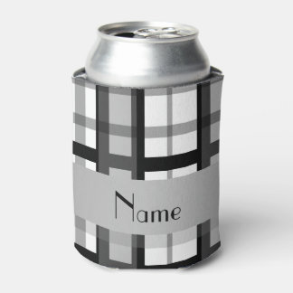 Personalized name black and white plaid can cooler
