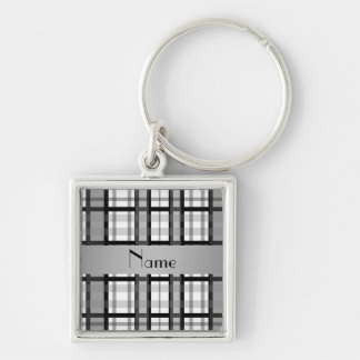 Personalized name black and white plaid keychain