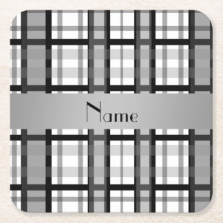 Personalized name black and white plaid square paper coaster