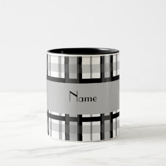 Personalized name black and white plaid Two-Tone coffee mug