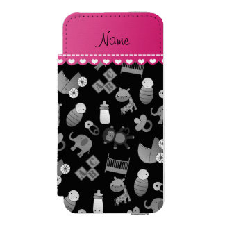 Personalized name black baby animals wallet case for iPhone SE/5/5s