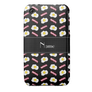 Personalized name black bacon eggs iPhone 3 Case-Mate case