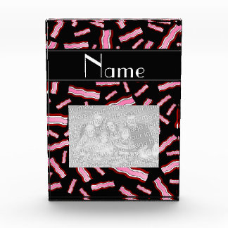 Personalized name black bacon pattern acrylic award